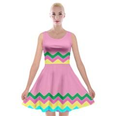Easter Chevron Pattern Stripes Velvet Skater Dress by Amaryn4rt