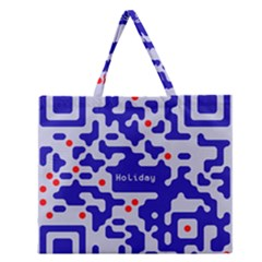 Digital Computer Graphic Qr Code Is Encrypted With The Inscription Zipper Large Tote Bag by Amaryn4rt