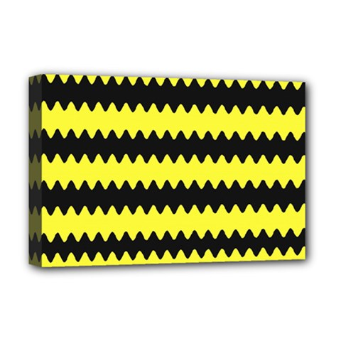 Yellow Black Chevron Wave Deluxe Canvas 18  X 12   by Amaryn4rt