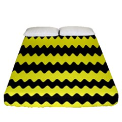 Yellow Black Chevron Wave Fitted Sheet (queen Size) by Amaryn4rt