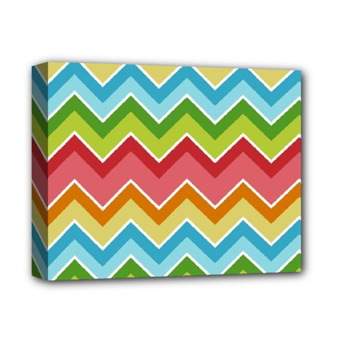 Colorful Background Of Chevrons Zigzag Pattern Deluxe Canvas 14  X 11  by Amaryn4rt