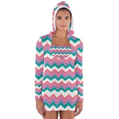 Chevron Pattern Colorful Art Women s Long Sleeve Hooded T-shirt by Amaryn4rt