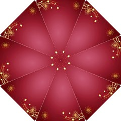 Red Background With A Pattern Hook Handle Umbrellas (small) by Amaryn4rt