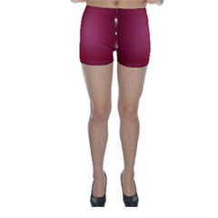 Red Background With A Pattern Skinny Shorts