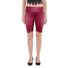 Red Background With A Pattern Yoga Cropped Leggings