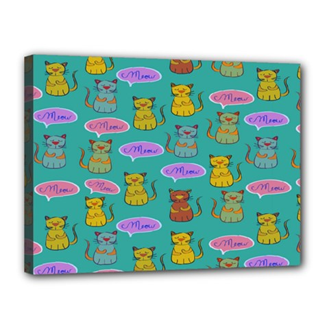 Meow Cat Pattern Canvas 16  X 12  by Amaryn4rt