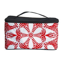 Red Pattern Filigree Snowflake On White Cosmetic Storage Case by Amaryn4rt