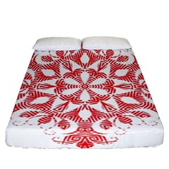 Red Pattern Filigree Snowflake On White Fitted Sheet (california King Size) by Amaryn4rt
