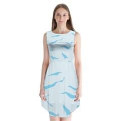 Blue Tiger Animal Pattern Digital Sleeveless Chiffon Dress