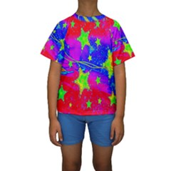 Red Background With A Stars Kids  Short Sleeve Swimwear