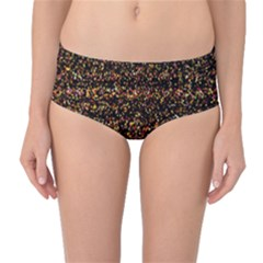 Colorful And Glowing Pixelated Pattern Mid Waist Bikini Bottoms by Amaryn4rt