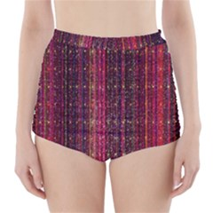 Colorful And Glowing Pixelated Pixel Pattern High Waisted Bikini Bottoms by Amaryn4rt