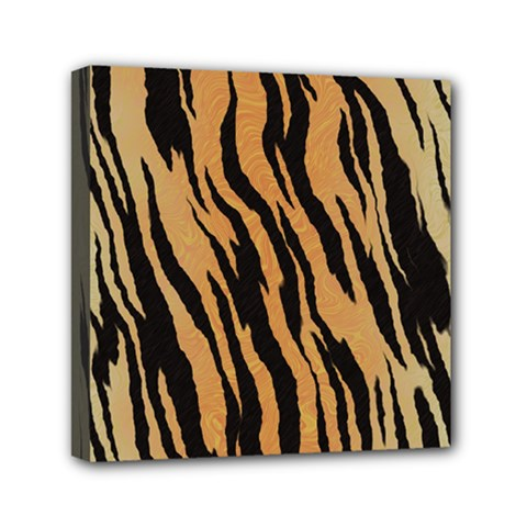 Tiger Animal Print A Completely Seamless Tile Able Background Design Pattern Mini Canvas 6  X 6  by Amaryn4rt