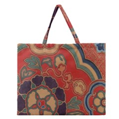 Vintage Chinese Brocade Zipper Large Tote Bag by Amaryn4rt