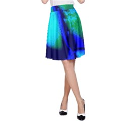 Blue Scales Pattern Background A Line Skirt