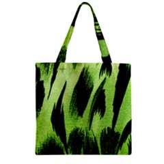 Green Tiger Background Fabric Animal Motifs Zipper Grocery Tote Bag by Amaryn4rt