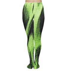 Green Tiger Background Fabric Animal Motifs Women s Tights