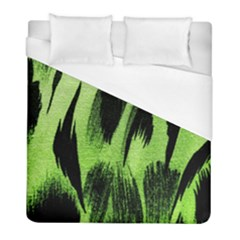 Green Tiger Background Fabric Animal Motifs Duvet Cover (full/ Double Size) by Amaryn4rt