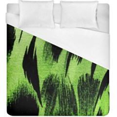 Green Tiger Background Fabric Animal Motifs Duvet Cover (king Size) by Amaryn4rt