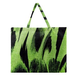 Green Tiger Background Fabric Animal Motifs Zipper Large Tote Bag by Amaryn4rt