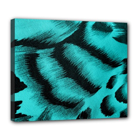 Blue Background Fabric Tiger  Animal Motifs Deluxe Canvas 24  X 20   by Amaryn4rt