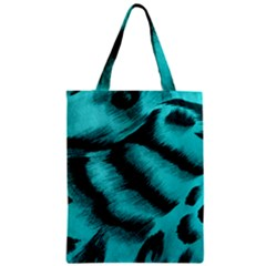 Blue Background Fabric Tiger  Animal Motifs Classic Tote Bag by Amaryn4rt