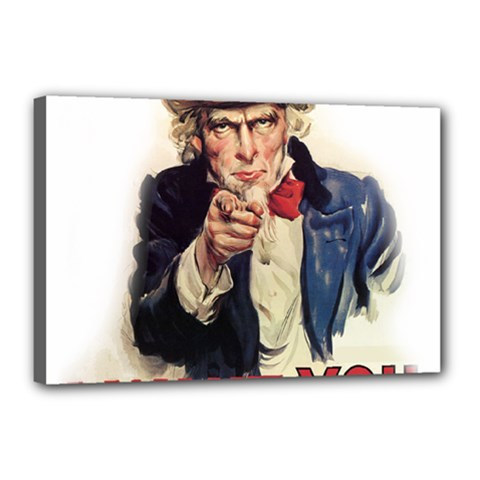 Uncle Sam Canvas 18  X 12  by Valentinaart