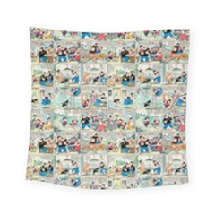 Old Comic Strip Square Tapestry (small) by Valentinaart