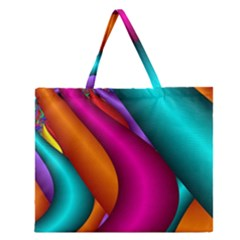 Fractal Wallpaper Color Pipes Zipper Large Tote Bag by Amaryn4rt