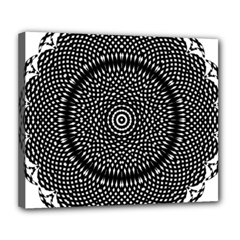 Black Lace Kaleidoscope On White Deluxe Canvas 24  X 20   by Amaryn4rt