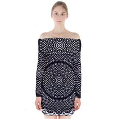 Black Lace Kaleidoscope On White Long Sleeve Off Shoulder Dress by Amaryn4rt