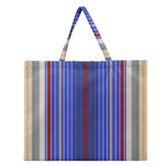 Colorful Stripes Background Zipper Large Tote Bag by Amaryn4rt