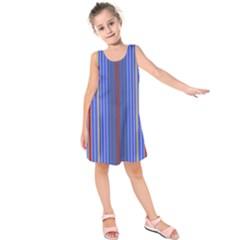 Colorful Stripes Background Kids  Sleeveless Dress