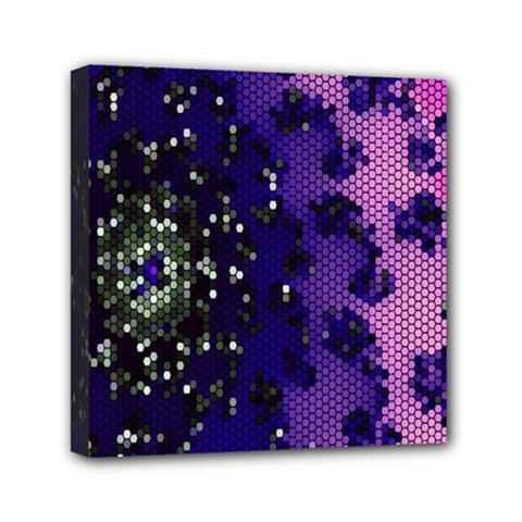 Blue Digital Fractal Mini Canvas 6  X 6  by Amaryn4rt