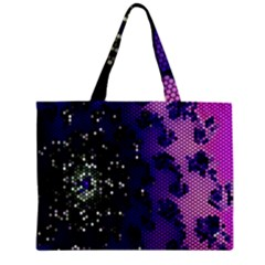 Blue Digital Fractal Zipper Mini Tote Bag by Amaryn4rt