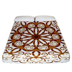 Golden Filigree Flake On White Fitted Sheet (california King Size) by Amaryn4rt