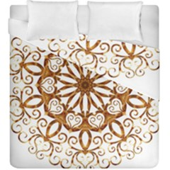 Golden Filigree Flake On White Duvet Cover Double Side (king Size) by Amaryn4rt