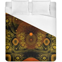 Fractal Yellow Design On Black Duvet Cover (california King Size) by Amaryn4rt