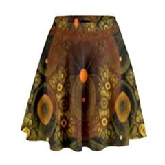 Fractal Yellow Design On Black High Waist Skirt by Amaryn4rt