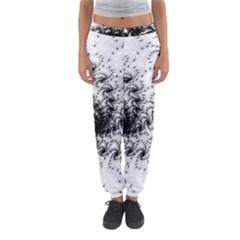 Fractal Black Spiral On White Women s Jogger Sweatpants by Amaryn4rt