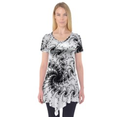 Fractal Black Spiral On White Short Sleeve Tunic  by Amaryn4rt