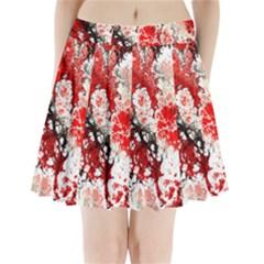 Red Fractal Art Pleated Mini Skirt by Amaryn4rt