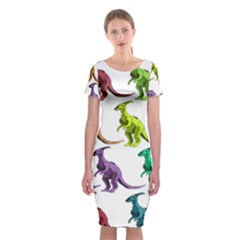 Multicolor Dinosaur Background Classic Short Sleeve Midi Dress by Amaryn4rt