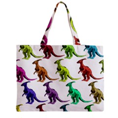 Multicolor Dinosaur Background Medium Zipper Tote Bag