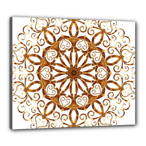Golden Filigree Flake On White Canvas 24  X 20  by Amaryn4rt