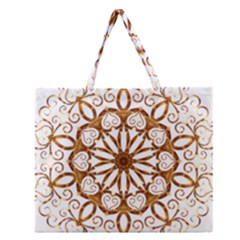 Golden Filigree Flake On White Zipper Large Tote Bag by Amaryn4rt