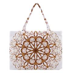 Golden Filigree Flake On White Medium Tote Bag by Amaryn4rt