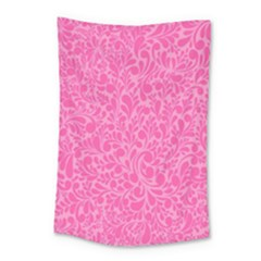 Pink Pattern Small Tapestry by Valentinaart