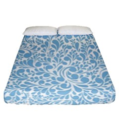 Blue Pattern Fitted Sheet (queen Size) by Valentinaart