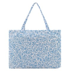 Blue Pattern Medium Zipper Tote Bag by Valentinaart